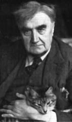 RVW pictured with his favourite cat Foxy. 1942